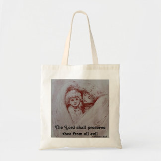 Citation vintage d'art d'ange des psaumes tote bag