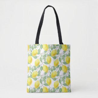 Citron et sac fourre-tout jaunes à vignes de vert