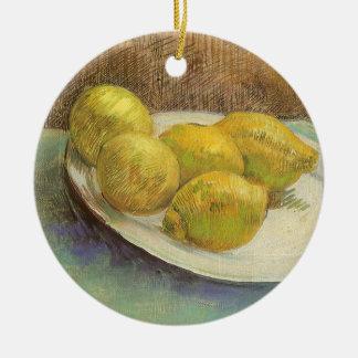 Citrons toujours de la vie d'un plat par Vincent Ornement Rond En Céramique