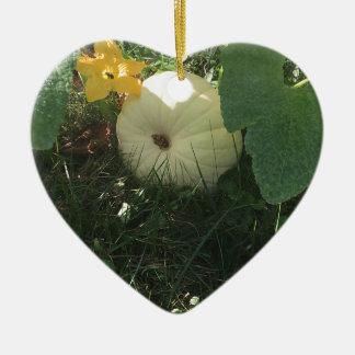 Citrouille blanc ornement cœur en céramique