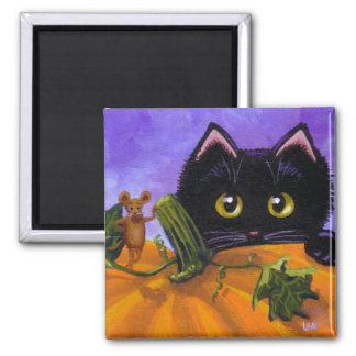Citrouille drôle Creationarts de souris de chat Aimant