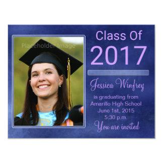 Classe grunge bleue de la photo 2017 d'obtention carton d'invitation 10,79 cm x 13,97 cm