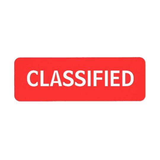 classifié étiquettes d'adresse retour