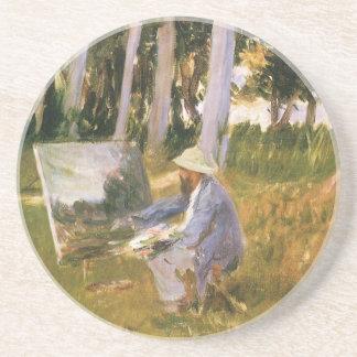 Claude Monet peignant, bord d'un bois par Sargent Dessous De Verre