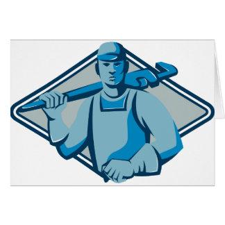clé de singe de travailleur de plombier rétro carte
