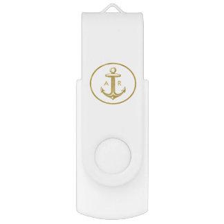 Clé USB Ancre d'or | décoré d'un monogramme