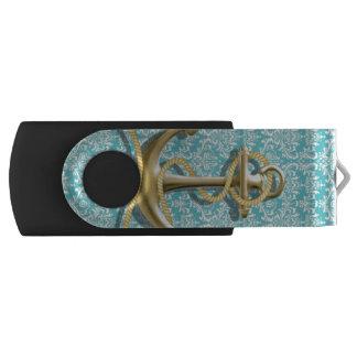 Clé USB ancre nautique de marin de damassé de turquoise de