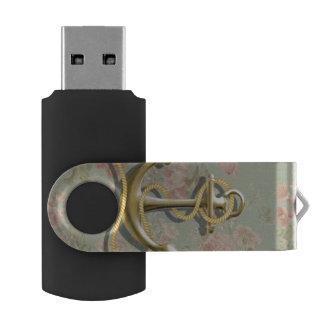 Clé USB Ancre nautique girly florale chic minable