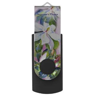 Clé USB Brin des fleurs dans l'aquarelle avec votre nom