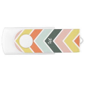 Clé USB Chevron | gai décoré d'un monogramme par des