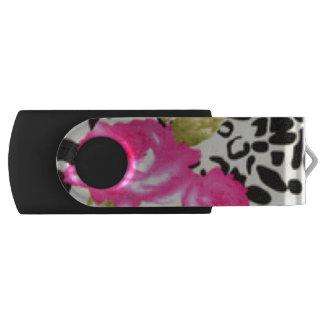 Clé USB Conception de motif de fleur et de léopard