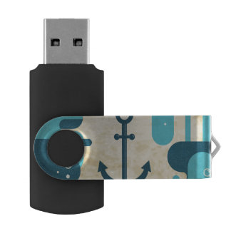 Clé USB Conception nautique blanche d'ancre avec la corde