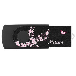 Clé USB Fleurs de cerisier de monogramme de papillon