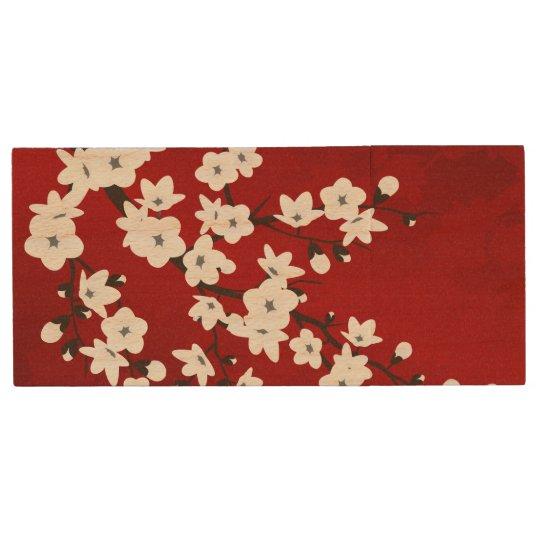 Clé USB Fleurs de cerisier noires et blanches rouges