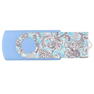 Clé USB Floral classique mignon de gris bleu