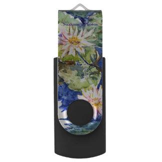 Clé USB Jardin de l'eau dans l'aquarelle avec votre nom
