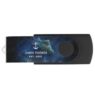 Clé USB L'ancre unique avec le nom et datent | les cadeaux