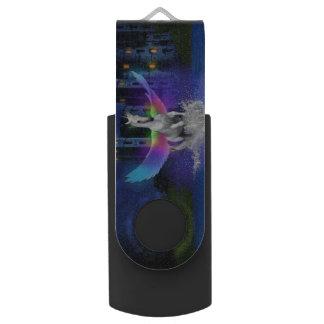 Clé USB Licorne avec des ailes d'arc-en-ciel