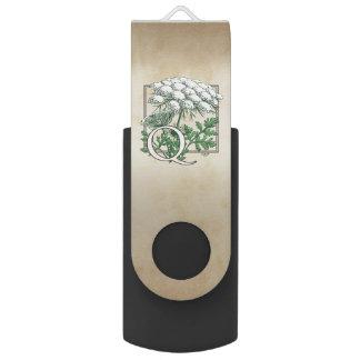 Clé USB Monogramme de fleur de dentelle de la Reine Anne
