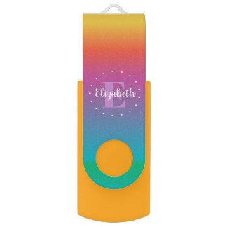Clé USB Monogramme multicolore d'Ombre d'arc-en-ciel