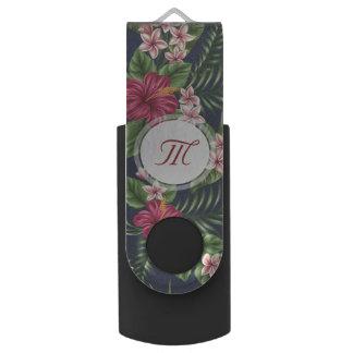 Clé USB Monogramme personnalisé USB de fleur de ketmie