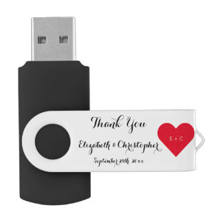 Clé USB Monogramme USB de nom de Merci de faveur de noce