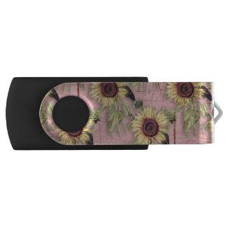 Clé USB Motif rustique de tournesol d'automne