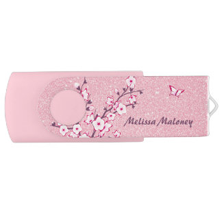 Clé USB Parties scintillantes de rose de fleurs de