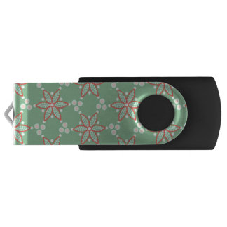Clé USB Rétros taches de style avec la fleur rouge-orange