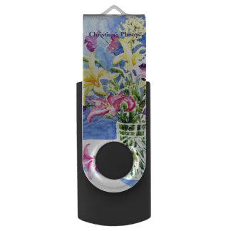 Clé USB Vase en verre de fleurs exotiques avec votre nom