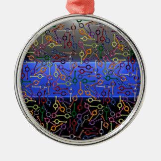 Clés colorées minces de menotte de Blue Line Ornement Rond Argenté