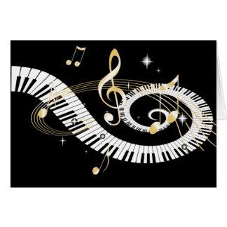 Clés de piano et notes d'or de musique