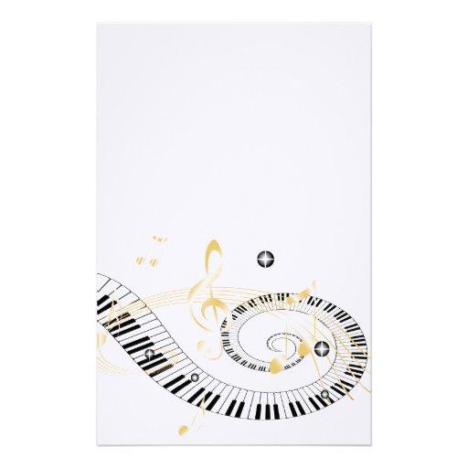 cl s de piano et notes d 39 or de musique papiers lettres zazzle. Black Bedroom Furniture Sets. Home Design Ideas