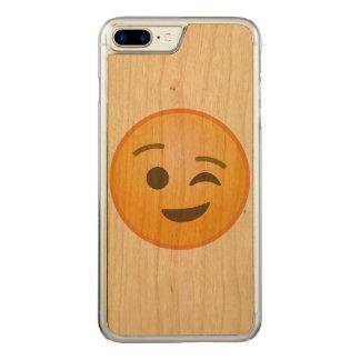 Cligner de l'oeil Emoji Coque En Bois iPhone 7 Plus