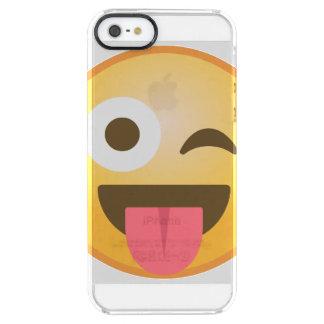 Cligner de l'oeil la langue Emoji Coque iPhone Clear SE/5/5s