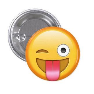 Cligner de l'oeil l'insigne de smiley d'emoji badge rond 2,50 cm