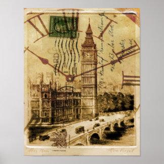 Clocktower grand Ben de pont de tour de Londres Poster