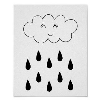 Cloud & raindrops affiche nursery children's room