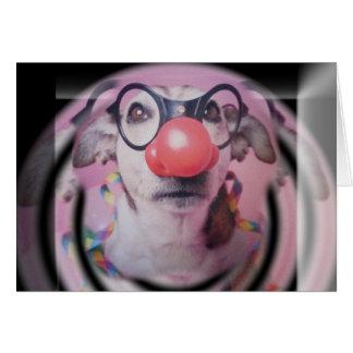 Clown fou de joyeux anniversaire de Jack Russell Carte De Vœux