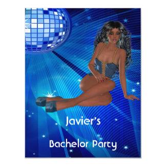 Club bleu de disco de fille de l'enterrement de carton d'invitation 10,79 cm x 13,97 cm