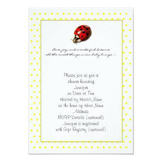 Coccinelle à l'invitation jaune de douche de pois carton d'invitation  12,7 cm x 17,78 cm
