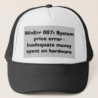 Code d'erreur insuffisant d'argent casquette