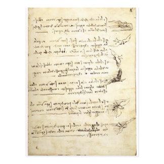 Codex sur le vol des oiseaux par Leonardo da Vinci Carte Postale