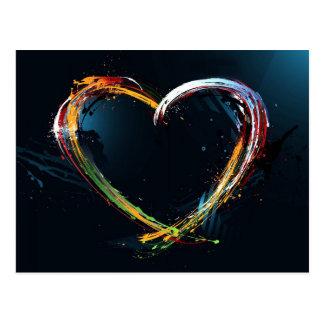 Coeur abstrait d'art numérique cartes postales
