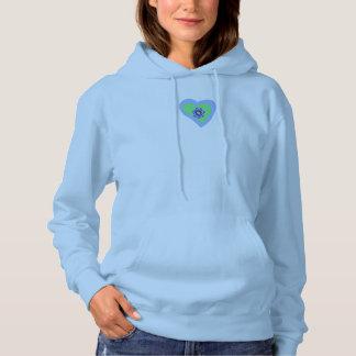 Coeur bleu de diamant de sweatshirt à capuchon de