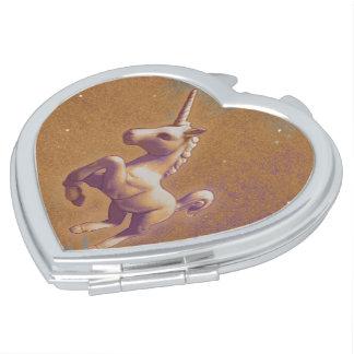 Coeur compact de miroir de licorne (lavande en