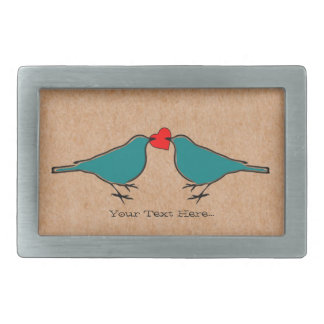 Coeur d'amour et Valentines d'oiseaux Boucle De Ceinture Rectangulaire