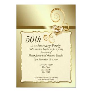 Coeur d'anniversaire de mariage d'or carton d'invitation  12,7 cm x 17,78 cm