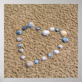 Coeur de coquillage poster