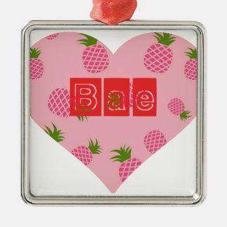 Coeur de couleur d'ananas de fraise de Bae Ornement Carré Argenté